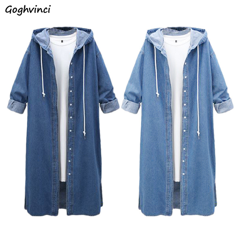 Trench Women Large Size Soft Denim Loose European Style Casual Long Sleeve Single Breasted Womens Simple Elegant Clothing Girls