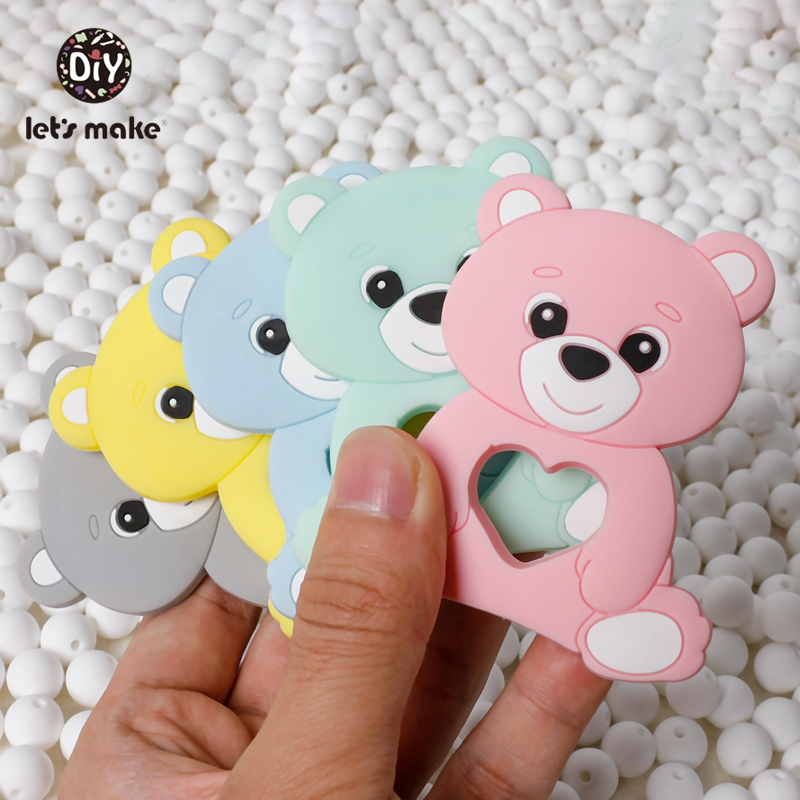 Baby Products For Newborns Silicone Rodent Bear 1pc Mitten Baby Teether Latex Free Pacifier Pendant  Teething Toys Let's Make