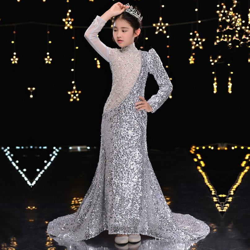 High-end Luxury Sequined Girls Mermaid Evening Dress Fashion Trailing Catwalk Ball Gown Modis Kids Party Dress Vestidos Y2233