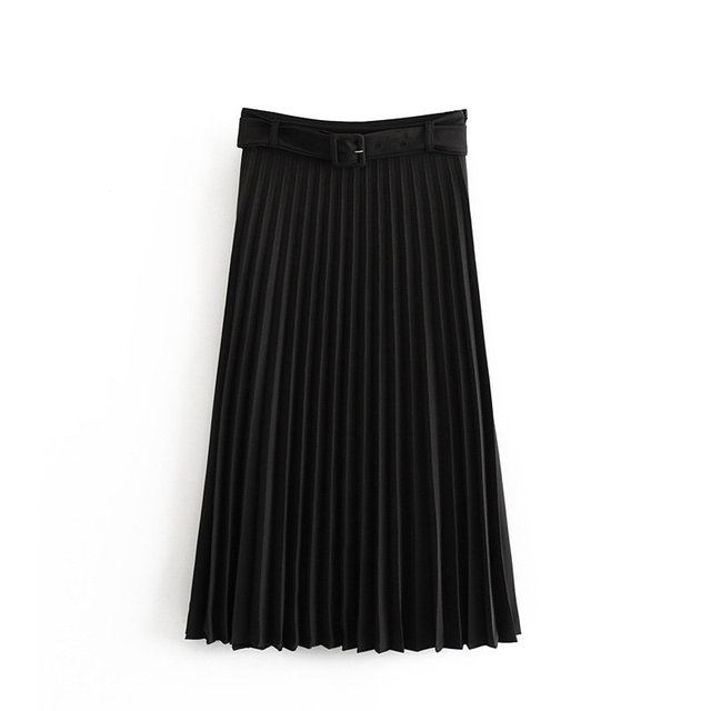 New Women fashion belt solid color pleated midi skirt faldas mujer ladies side zipper vestidos retro casual slim skirts QUN481 2