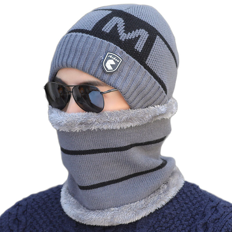 Winter Hat Scarf Set For Men 4 Colors Knitting Hat Scarf Set Warm Wool Cap Scarves Winter Beanies Scarf Sets Outdoor Accessories