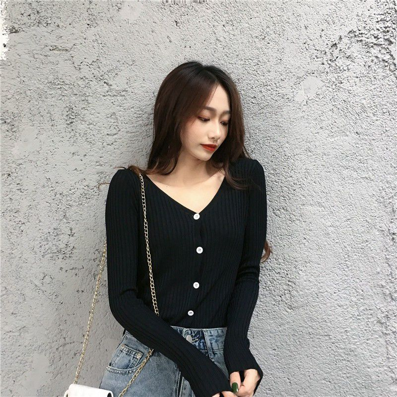 Casual Wild Sweater for Women Autumn Winter Korean Sweet Color V-neck Long-sleeved Solid Color Sweater Slim Button Knit Cardigan