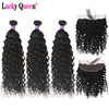 Lucky Queen Hair Brazilian Water Wave Bundles With 13*4 Frontal 4pcs/lot Remy Hair Weave Bundles 100% Human Hair Extensions
