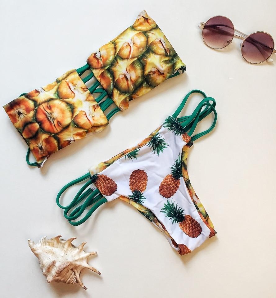 Trangel New Brazilian Swimwear Reversible Bikinis Sexy Women Swimsuit Pineapple Series Print Biquinis Halter Bathing Suits