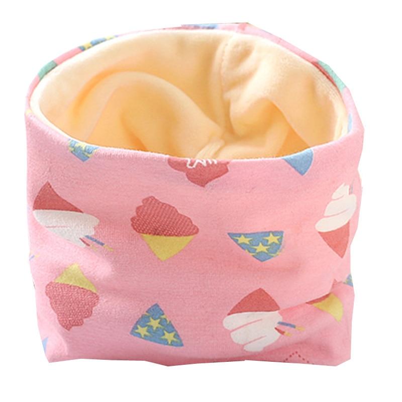 Осенне-зимний детский хлопковый плюшевый шарф, детский шарф для девочек, шарфы для мальчиков и девочек, детский воротник, детский волшебный шейный платок с круглым вырезом - Цвет: plush pink ice cream