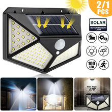 SHOPLED 100 Led Solar Light Waterproof LED Bulb Outdoor Solar Lamp PIR Motion Sensor Solar Wall Lamp Garden Decoration Lighting