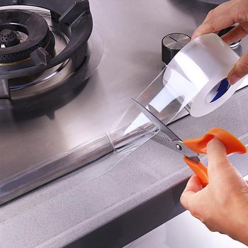 1 rolka 5M wodoodporna taśma zlewozmywak Mildewproof mocna taśma klejąca przezroczysta taśma samoprzylepna do wanny toaleta Gap tanie i dobre opinie CN (pochodzenie) Elektryczne Adhesive Tape Taśma elektryczna nano tape tape double sided tape super fix nano tape 3m double sided tape gel grip tape