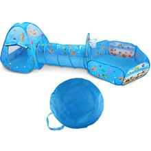 3Pcs 4Colors Baby Play Tunnel Tent Ball Pool for Children Tipi Pit House Crawling Ocean Kid