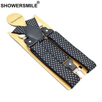 SHOWERSMILE męskie szelki szelki diamentowe szelki elastyczne 3 klipsy Y powrót spodnie pasek 120cm szelki czarne męskie szelki tanie i dobre opinie CN (pochodzenie) Poliester Dla dorosłych Plaid Moda Men Suspenders G19010401 120inch 3 Clips Suspender Adjustable Suspender