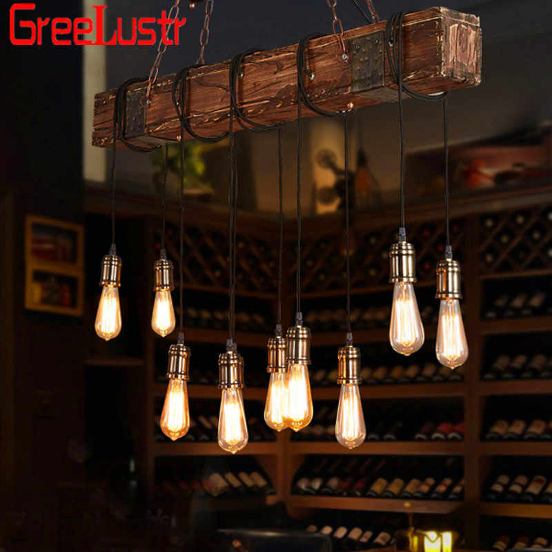 Ретро промышленный деревянный 10 головок светодиодный подвесной светильник винтажный Лофт бар деревянная люстра для бара Кофейня светильник люстры