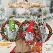 2019 Xmas New Year Faceless doll little doll rattan ring pendant Christmas Doll wreath ornaments Christmas window decoration new year 3pcs cute christmas faceless gnome doll nice appearance rattan ring pendant cute home window hanging xmas decoration