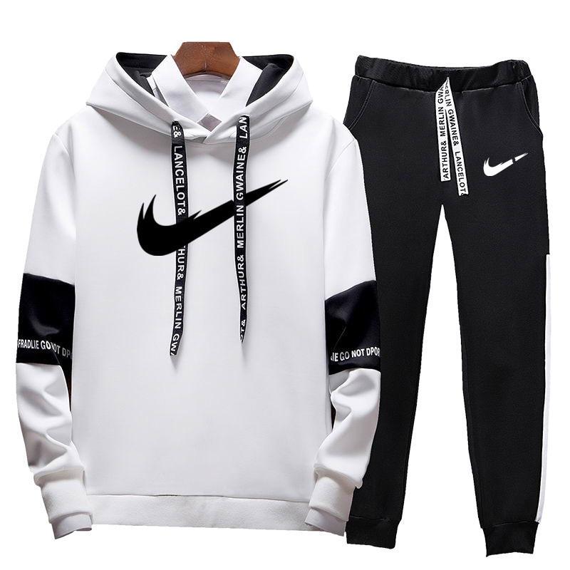 Men's Casual Suit Sportswearautumn And Winter Hooded Sweatshirt Sports Suit Men's Solid Sportswear Pattern Print Hoodie + Pants