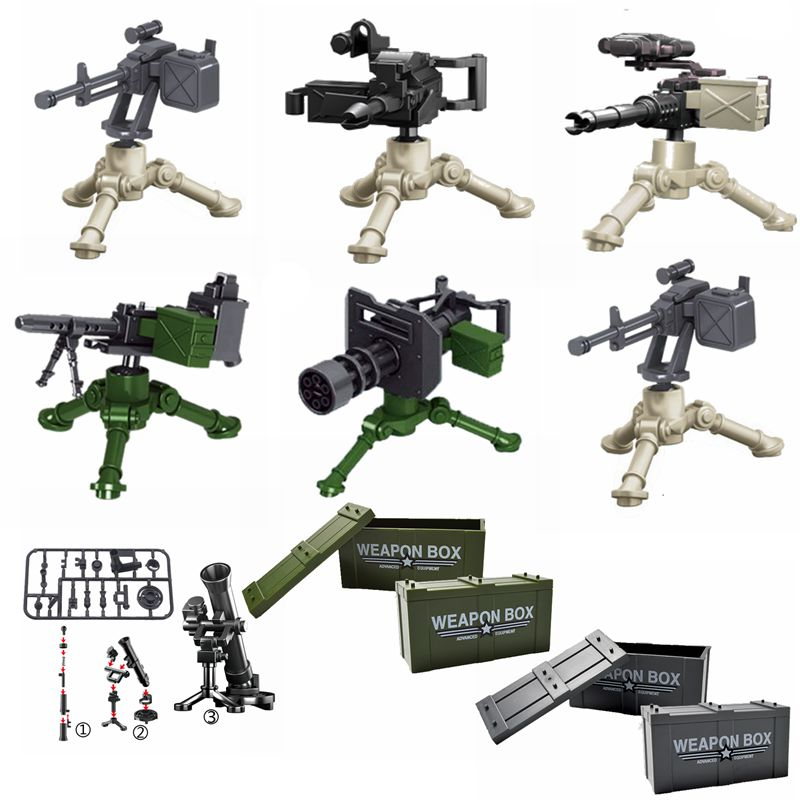 Compatible for Locking Military The Toy Guns Weapon Box  Building Blocks Toys For Children Assemble Military Army Toy Gifts