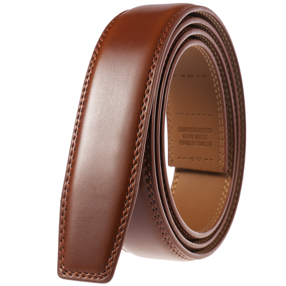 3.5cm Wide Genuine Leather Belt Without Buckle Men Luxury Designer Strap Brand Belts For Male Vintage High Quality Cowhide|Women