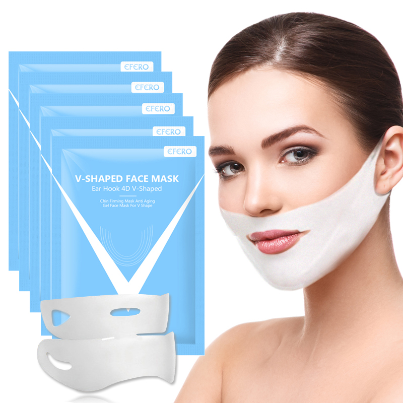4D Double Hanger Ear V Face Mask Compact Lifting Firming Skin Peel-off Mask V Shaped Magic Slimming Chin Check Thin Face Mask