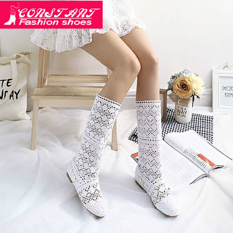 CONSTANT Big Size35-42 Summer Boots Flock + Lace Cutout Shoes Women Fashion Tops Fashion Style Women's Embroidered Boots