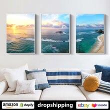 Солнечное Побережье Пляж комбинированные плакаты искусство стены