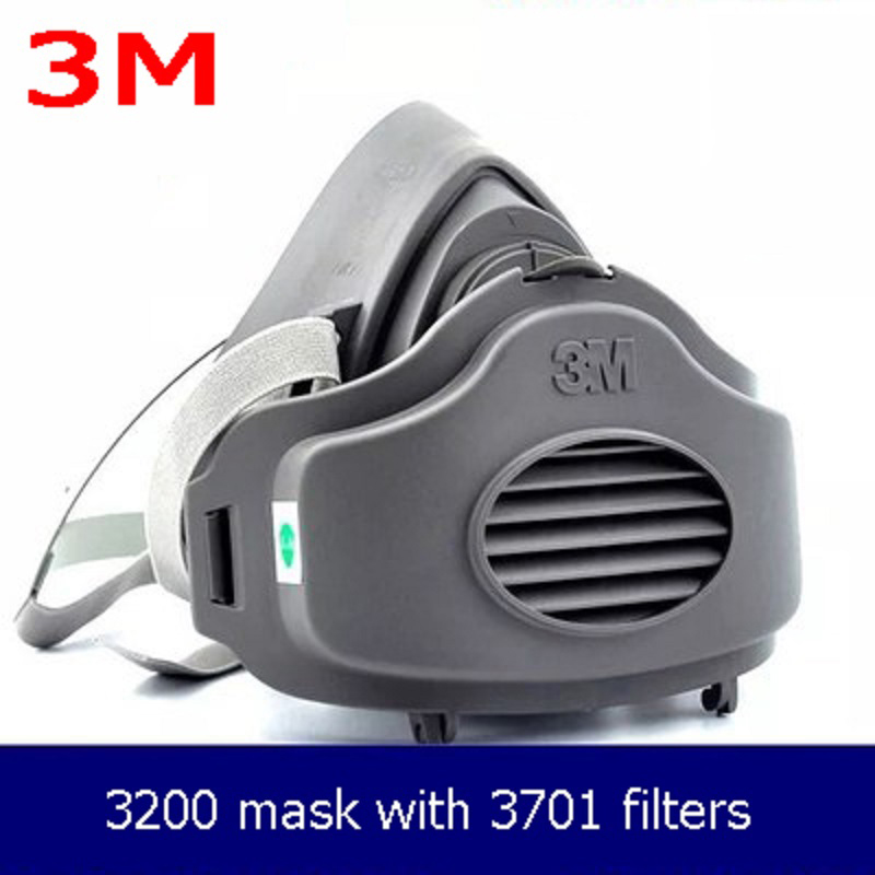 3M 3200 Half Face Mask 10pcs SJL3701 Filters N95 Gas Respirator Dust-proof PM2.5 Cotton For Spray Paint Working Mask