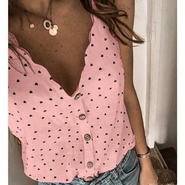 2021 mujeres Sexy Polka Dot blusa elegante camisa cuello en V botón sin mangas, Tops de verano, 2XL de las señoras de la moda ropa de calle Chic Top blusa 4