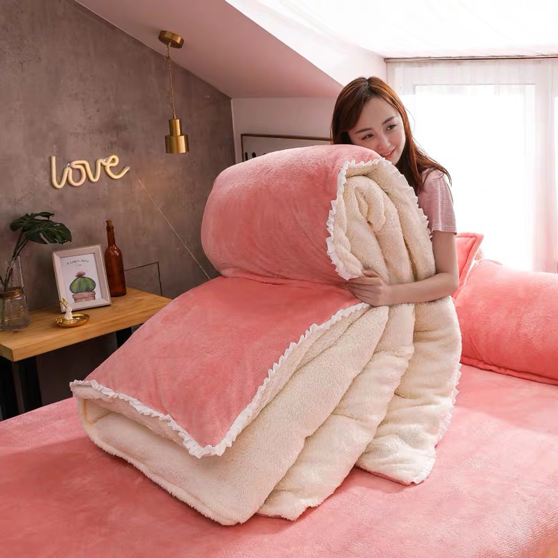 JUSTCHIC 4pcs/set Winter Flannel Berber Fleece Duvet Cover Bed Sheets Pillowcase Kit Bedding Set Quilt Cover AB Version Double