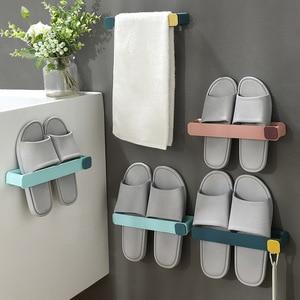 Multifunctional Wall-Mounted Shelf Shoe Hanger Shoe Storage Organizer Home Slippers Storage Rack Space Saving Towel Rack