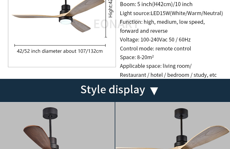 52 Inch Modern Led 15w Solid Wood Luxury Decorative Ceiling Fan Lamp With Remote Control 100 240v Motor Ceiling Fans With Light Ceiling Fans Aliexpress