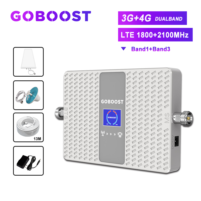 4G Signal Booster Cellular Amplifier GSM 3G 4G Signal Repeater 1800 2100 3G Booster For Cell Phones Mobile Signal 70dB Amplifier