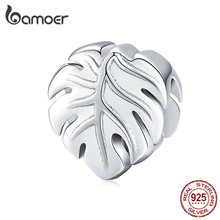 bamoer 925 Sterling Silver Metal Charm for Original Brand Bracelet & Bangle Plant Leaf Monstera Deliciosa Popular Jewelry BSC141(China)