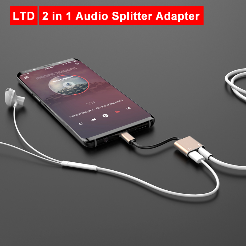 2 In 1 Type C To 3.5 Mm Audio And Charging Adapter For Honor Magic 2/Honor 20/20 Pro/Note 10 For Xiaomi 8/8 Lite/9/9SE/Mix2/Mix3