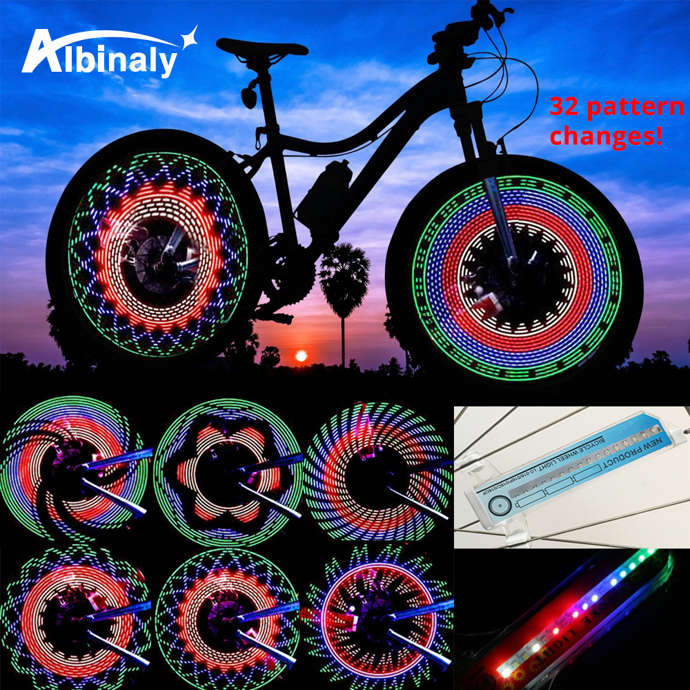 30 Pattern Bike Light Bicycle Wheel Light Double Display Flash 32 RGB LED Light Bicycle Spoke Lamp Night Riding Cycling Lighting