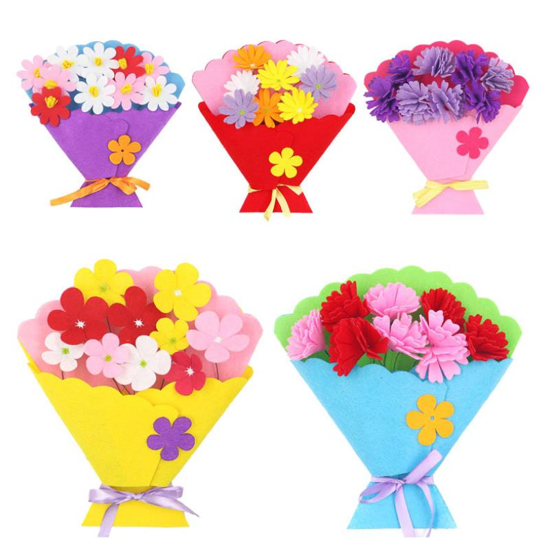 1pc Funny Children Craft Toy DIY Flower Bundle Non-woven Hand Bouquet Kindergarten Learning Education Toys Gift