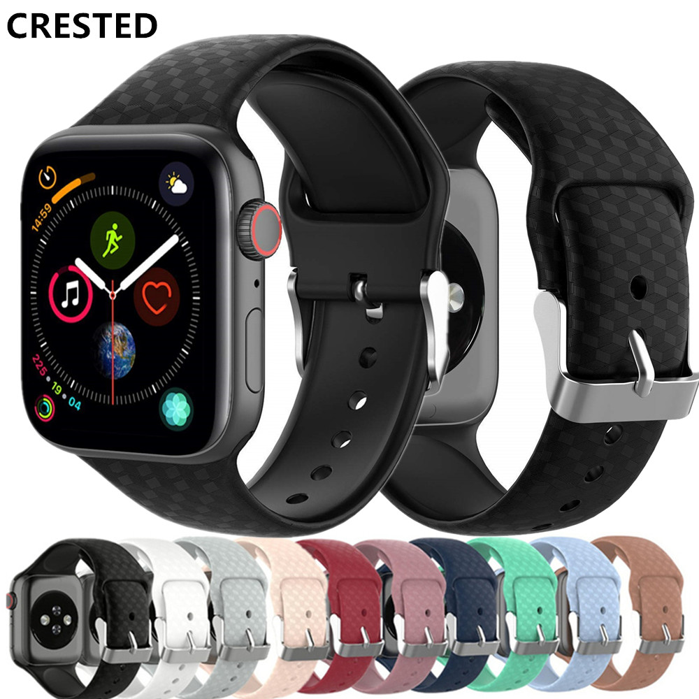 3D Texture Strap For Apple Watch  Band Apple Watch 5 4 3 Band 44mm 40mm Correa Iwatch Band 38mm 42mm Silicone Watchband Bracelet