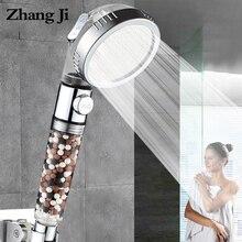 Cabezal de ducha de SPA de 3 funciones ZhangJi con botón de encendido/apagado, filtro de aniones de alta presión, cabezal de ducha ahorradora de agua