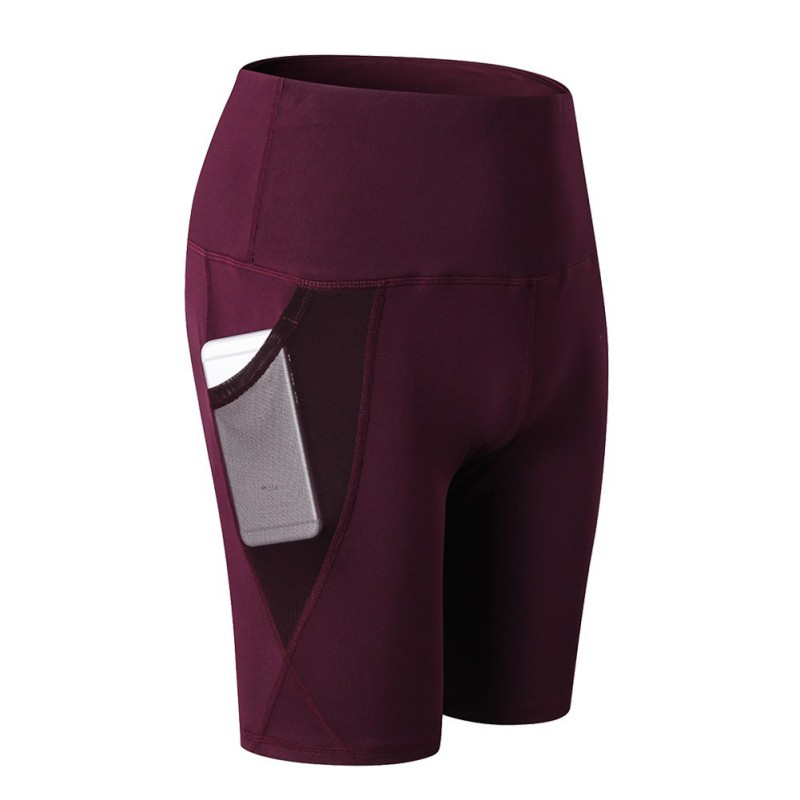Elastic-Pants Yoga-Shorts Running Women Summer with Mesh-Pocket Outdoor Gym Fitness Quick-Dry