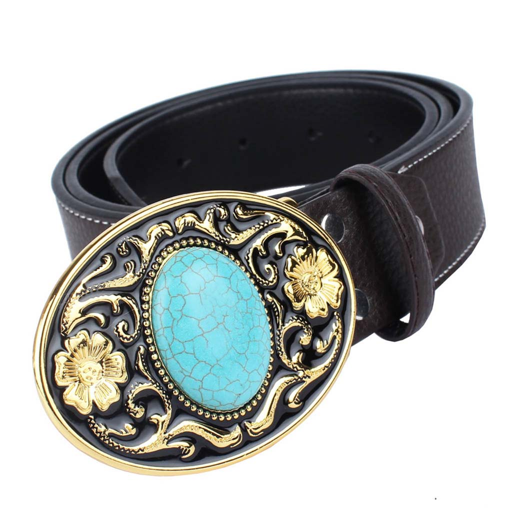 Western Cowboy Leather Belt Arabesque Buckle Turquoise Women Mens Adjustable