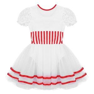 Image 4 - Kinder Mädchen Kurze Spitze Ärmeln Gestreiften Mesh Tutu Ballett Eiskunstlauf Kleid Gymnastik Trikot Performance Dance Wear Kostüme