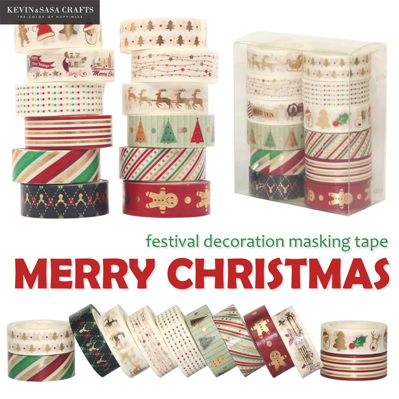 Merry Christmas Foil Washi Tape Set Quality Stationery Diy Scrapbooking Photo Album School Tools Scrapbook Paper Stickers Gift