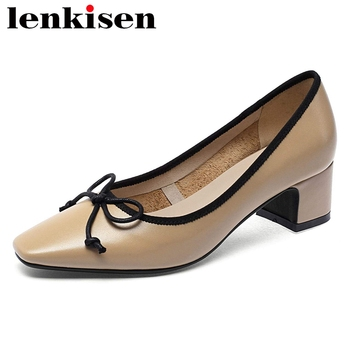 Lenkisen big size cow leather square toe med heel cozy shoes women handmade butterfly-knot beauty lady shallow slip on pumps L01