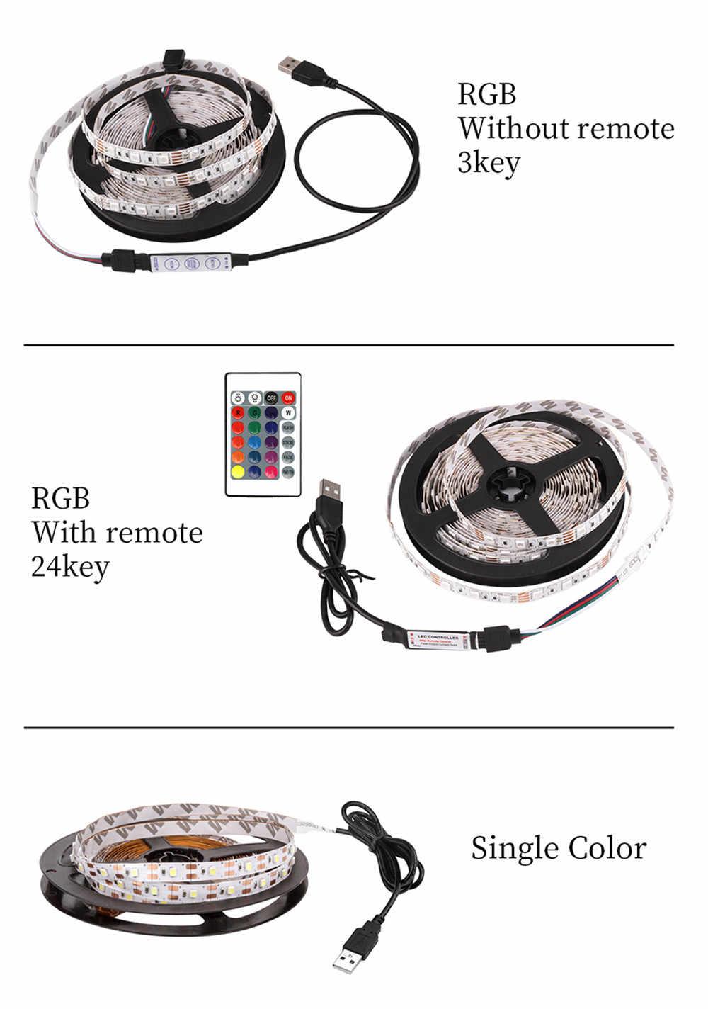 5V 1-5M tira Led RGB 5050/2835 SMD no impermeable puede cambiar de Color para iluminación de fondo de TV con controlador IR USB mini 3 teclas