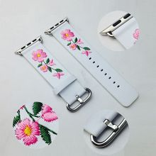 ONEVAN New Leather Loop for Apple Watch Band 38mm 42mm Embroidery Floral Pattern Replacement Bracelet Strap iWatch 3/2/1