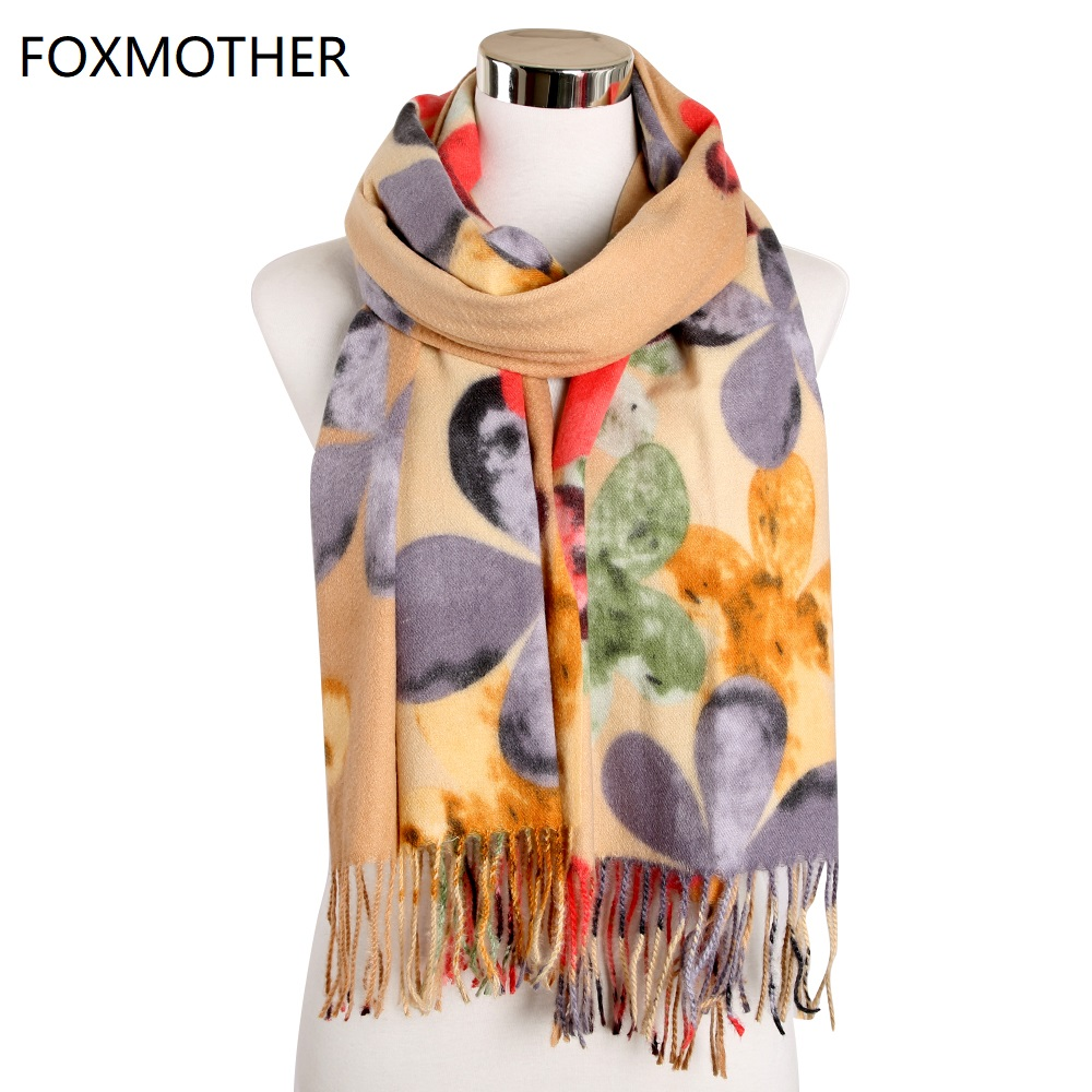 FOXMOTHER Winter Scarves Accesorios Mujer Muffler Female Pink Yellow Floral Flower Cashmere Scarf Warm Shawl Wraps Ladies 2019