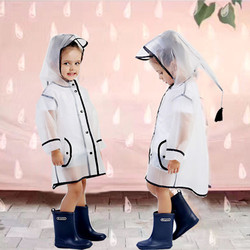 Transparente eva crianças capa de chuva impermeável crianças casaco de chuva ao ar livre poncho chapéu à prova de vento kindergarden chuva engrenagem