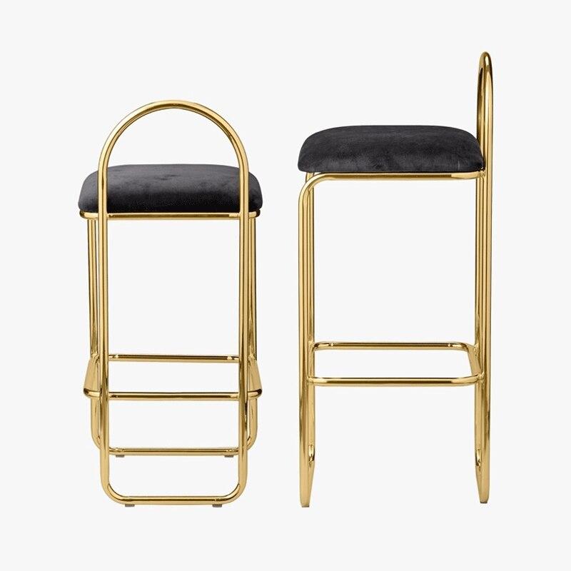 Net Red Bar Chair Gold High Stool Ins Creative Simple Front Desk Chair North European Bar Household Coffee Chair