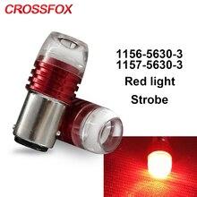 CROSSFOX auto P21/5W 1157 BAY15D led 1156 BA15S P21W стробоскопический мигающий стоп-светильник, лампа 12V 24V Красный Автомобильный стоп-светильник s