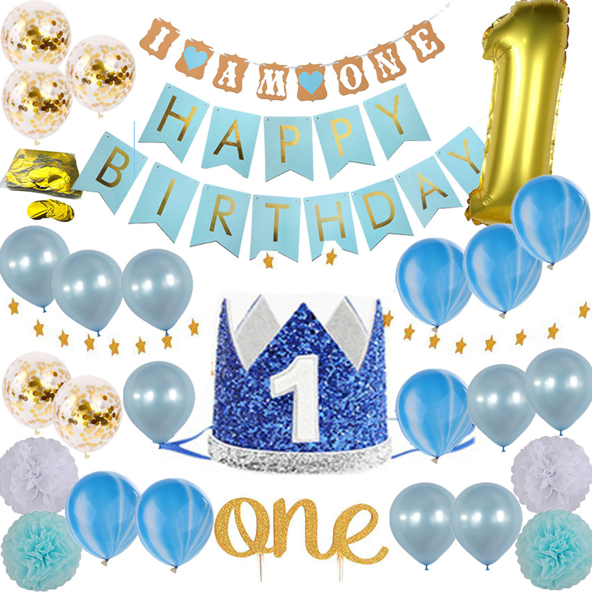 1st Birthday Party Decor Supplies Set Blue Pink Latex And Foil Balloons Cake Topper Happy Birthday Banner Paper Flowers
