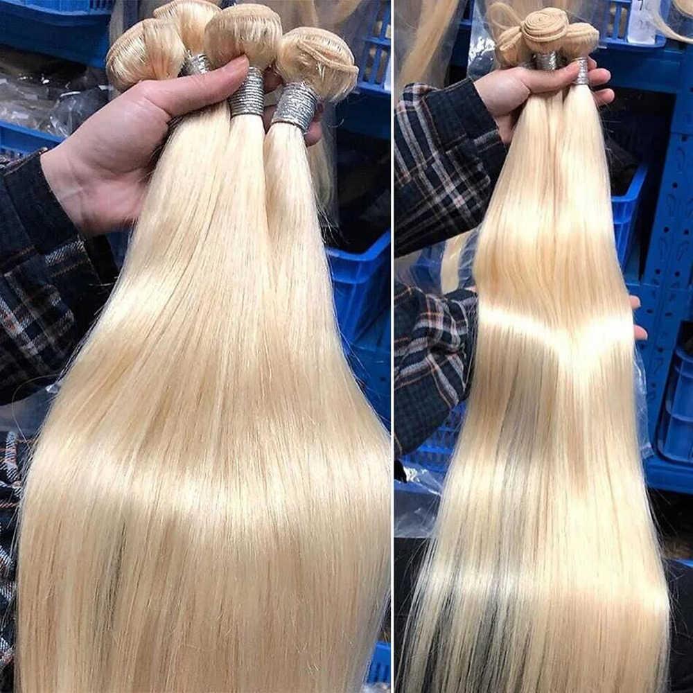 Mechones rubia 613 con cierre 32 34 36 38 40 pelo liso 3 mechones con cierre 4x4 100% de encaje cabello humano Remy con cierre