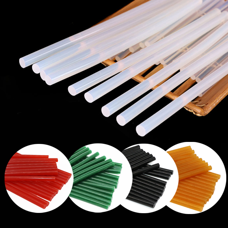 40Pcs/10Pcs Hot Melt Glue Sticks 7mm 11mm Transparent Black Glue Rod for Glue Gun DIY Crafts Adhesive Repair Gun Glue