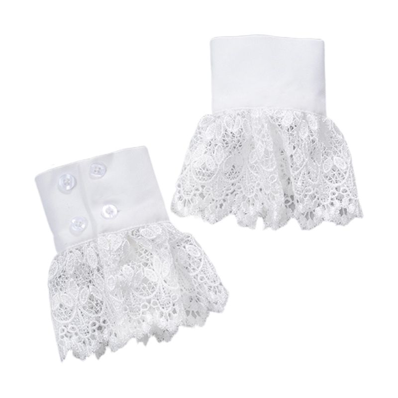 2pcs/pair Women Girl Fake Cuff Gloves Crotchet Floral Lace Pleated Ruched Hollow 449F