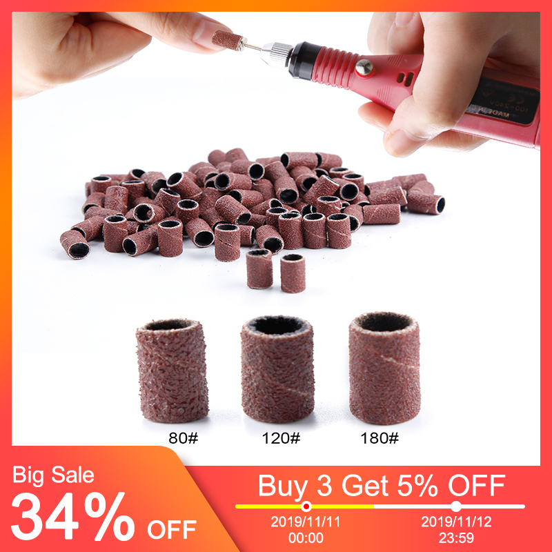 100pcs Nail Sanding Bands Apparatus For Manicure 80