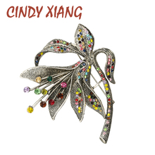 CINDY XIANG Rhinestone Morning Glory Flower Brooches For Women Large Vintage Fashion Brooch Pin 2 Colors Avaible High Quality